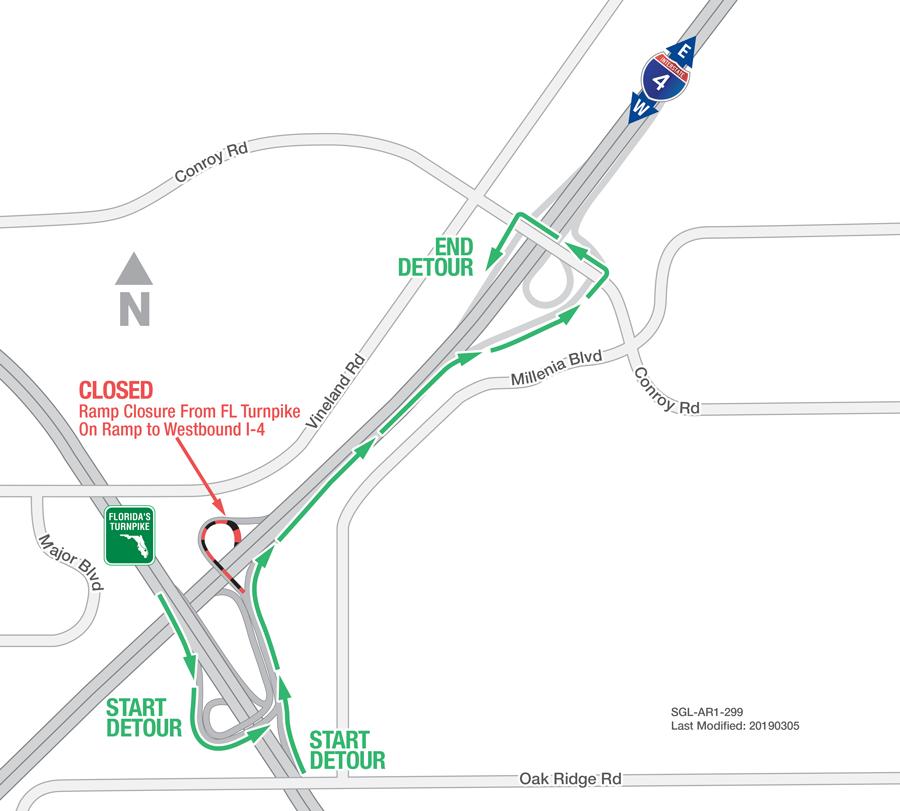 Nightly ramp closures at I-4 & Florida Turnpike interchange