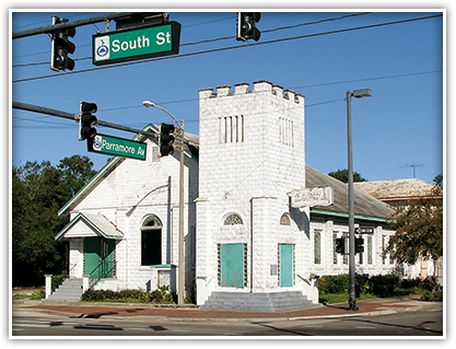 This church at the corner of Parramore Avenue and South Street was originally the site of the first stone church for African-American residents in Orlando.