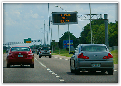 CCTV cameras and vehicle detector sensors on I-4 and other arterial state roads provide information via highway message boards.