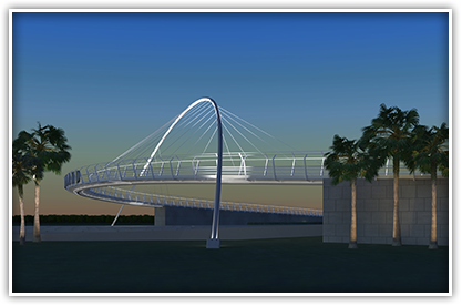 The world-class pedestrian bridge at Maitland Boulevard vaults over I-4, creating a striking image and increasing safety.