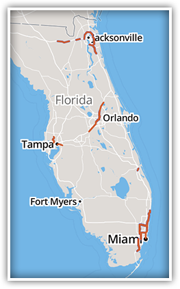 The state of Florida is planning and operating a number of Express Lanes to help drivers bypass congestion and improve traffic flow.