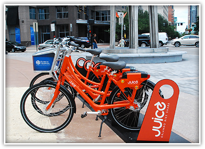 Juice Orlando Bike Share offers hundreds of bikes in the downtown area that can be used to commute, run errands and much more.
