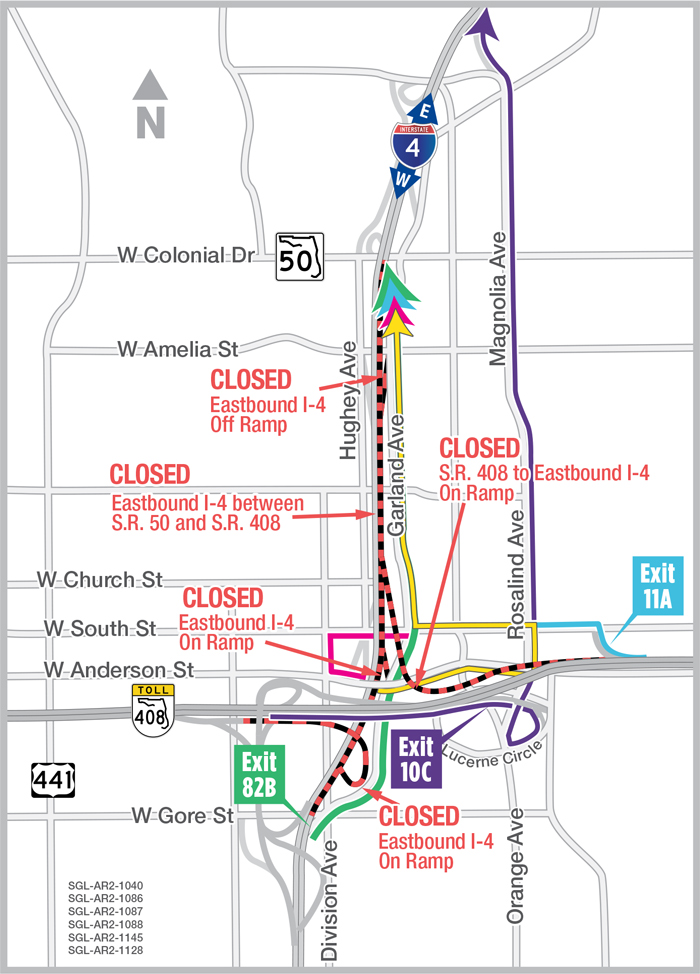 Eastbound I 4 In Downtown Orlando Closing Nightly Oct 2 3