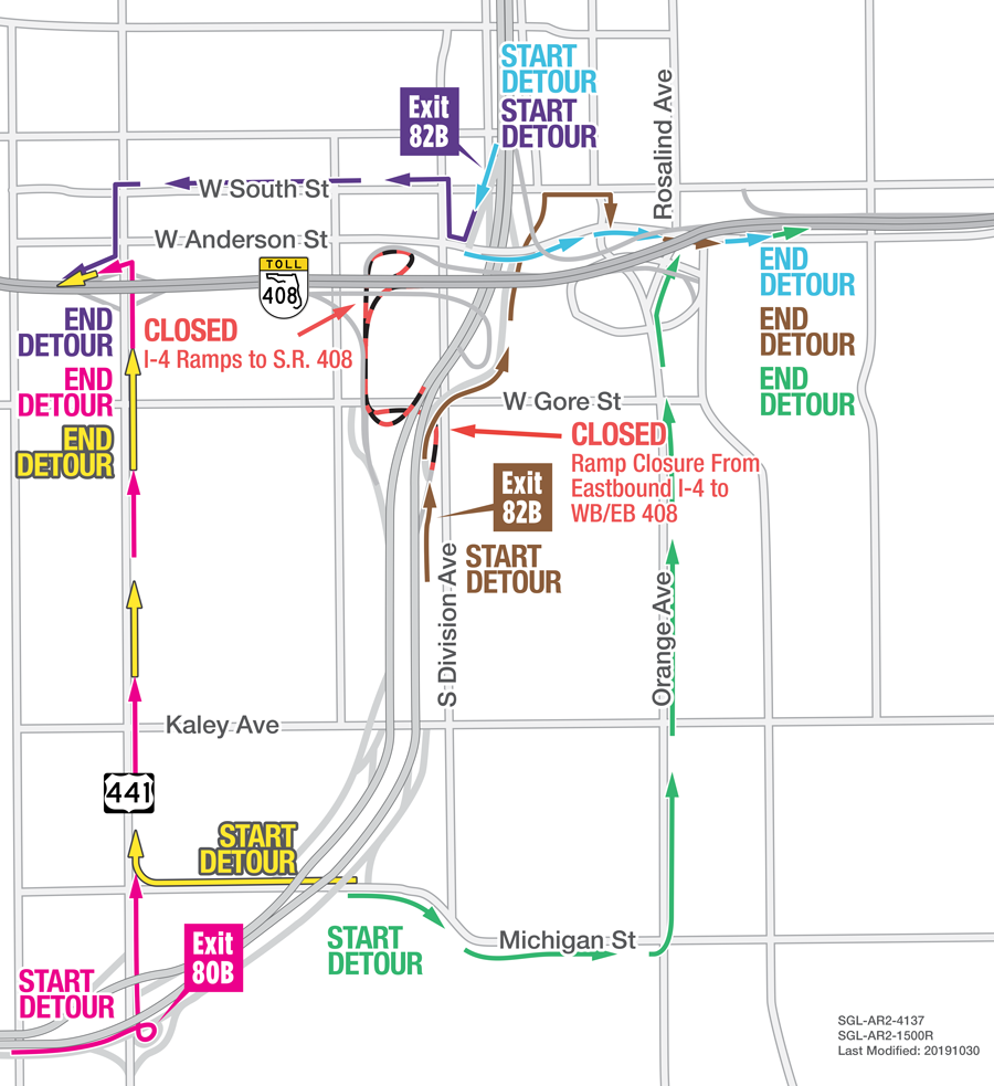 Nightly Closures Scheduled at I-4 and S R  408 Interchange