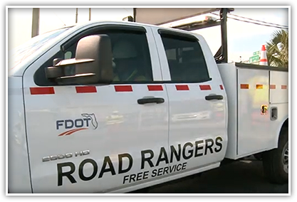 Road Rangers average about 75 stops per day, helping drivers with flat tires, overheated engines and empty gas tanks. The Road Rangers patrol Central Florida's highways and stand ready to assist stranded cars and clear accident scenes.