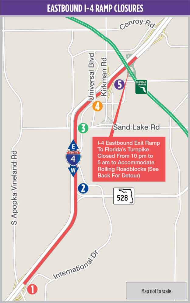 Map Of Florida Turnpike.Eastbound I 4 Rolling Roadblock From Apopka Vineland Road To