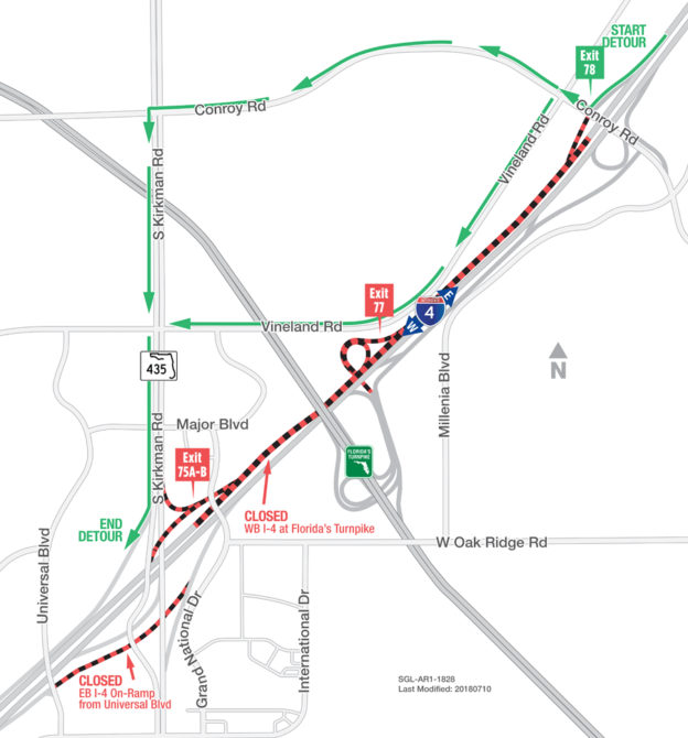 Map Of Florida Turnpike.Traffic To Be Diverted Off Westbound I 4 Near Florida S Turnpike On