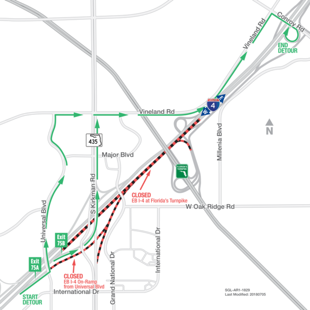 Map Of Florida Turnpike.Traffic To Be Diverted Off Eastbound I 4 Near Florida S Turnpike On