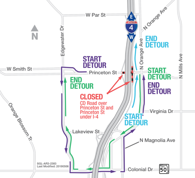 Detour map for the closure of Princeton St under I-4, as well as the Road System over Princeton St