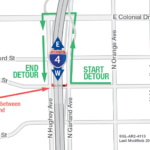 Westbound Amelia Street under I-4 Closing Continuously November 1-4