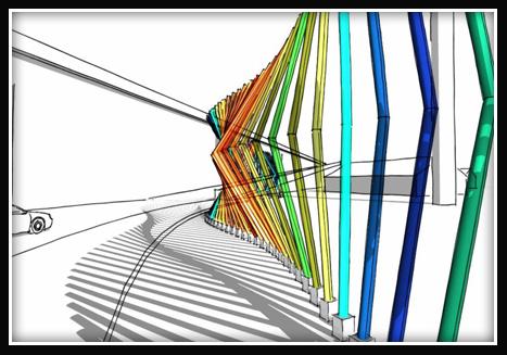 Artist rendering of rainbow colored poles